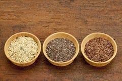 Chia, lin textile et graines de chanvre Image stock
