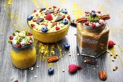 Chia mango parfait. chocolate chia parfait. banana mango smoothie. Super food royalty free stock image