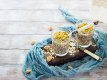Chia oat pudding with quinoa, banana, pistachio Royalty Free Stock Images