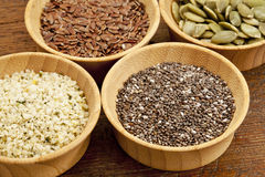 Chia and other healthy seeds Stock Photos