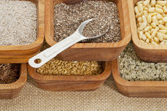 Chia and other healthy seeds Stock Photo
