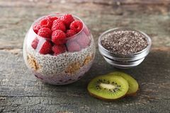 Chia pudding with berries Royalty Free Stock Photo