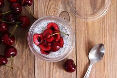 Chia pudding with cherries stock photos