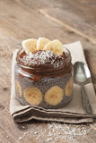 Chia pudding with chocolate banana smoothie Royalty Free Stock Photos