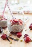 Chia Pudding with fresh cherries Stock Photo