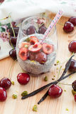 Chia Pudding with fresh cherries Stock Images