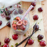 Chia Pudding with fresh cherries Royalty Free Stock Image