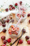 Chia Pudding with fresh cherries Royalty Free Stock Photos