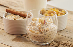 Chia Pudding with fresh fruits. Close up stock photo