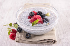 Chia pudding with fruits Royalty Free Stock Image