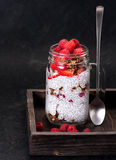Chia pudding in a glass jar Royalty Free Stock Photography