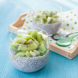 Chia Pudding with kiwi Royalty Free Stock Photo