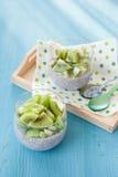 Chia Pudding with kiwi Stock Photos