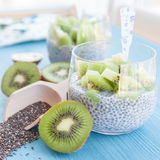 Chia Pudding with kiwi Royalty Free Stock Photography