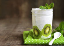 Chia pudding with kiwi slices. Royalty Free Stock Images