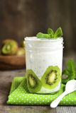 Chia pudding with kiwi slices. Stock Images