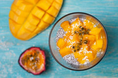 Chia pudding with mango Stock Image