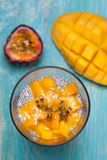 Chia pudding with mango Stock Images