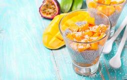 Chia pudding  and mango pieces Stock Photo