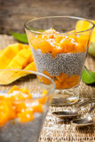 Chia pudding  and mango pieces Royalty Free Stock Images