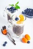 Chia pudding med blåbär och kumquaten Royaltyfria Bilder