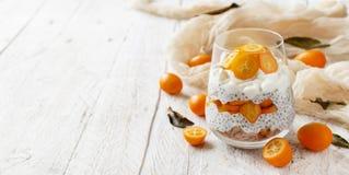 Chia pudding parfait with kumquat. Chia pudding parfait, layered with kumquat  and granola Royalty Free Stock Images