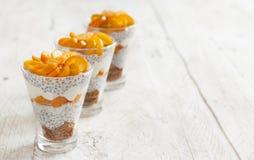 Chia pudding parfait with kumquat. Chia pudding parfait, layered with kumquat  and granola Stock Photos