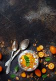 Chia pudding parfait with kumquat. Chia pudding parfait, layered with kumquat  and granola Stock Image