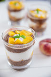Chia Pudding  Parfait with peach Stock Photography