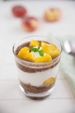 Chia Pudding  Parfait with peach Royalty Free Stock Photos