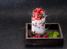 Chia pudding with raspberries Stock Image