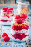 Chia pudding with raspberry sauce, granola and fresh raspberries. On rusic background Stock Photos