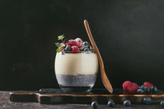 Chia pudding with rice porridge Stock Photo