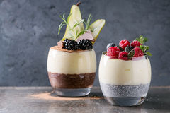 Chia pudding with rice porridge royalty free stock photo