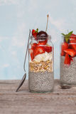 Chia pudding with strawberrie Royalty Free Stock Images