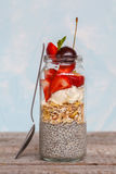 Chia pudding with strawberrie Royalty Free Stock Photography