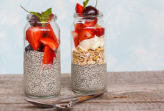 Chia pudding with strawberrie Royalty Free Stock Photo