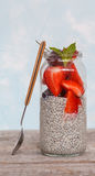 Chia pudding with strawberrie Royalty Free Stock Photos