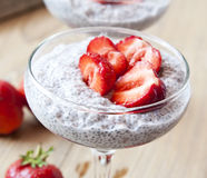 Chia Pudding with Strawberry Royalty Free Stock Photo