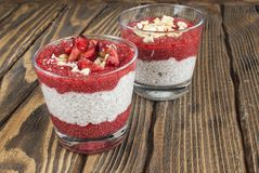Chia pudding on a table. Selective focus Royalty Free Stock Photos
