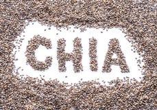 Chia słowo uzupełniający chia ziarna odizolowywający na białym tle zdjęcia royalty free