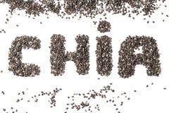 Chia-Samen in Form von dem Wort CHIA lizenzfreies stockfoto