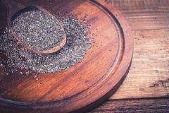 Chia-Samen im Löffel Stockfotos