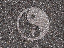 Chia-Samen mit Yin Yang-Symbol Stockfotografie