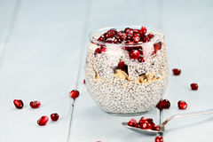 Chia Seed And Pomegranate Parfait Stock Photos