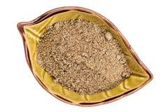 Chia seed flour in ceramic bowl Stock Image