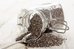 Chia seed in a glass container Stock Photo