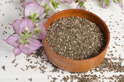 Chia seed healthy super food with flower Royalty Free Stock Photos
