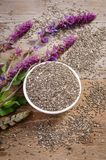 Chia seed healthy superfood with flower on wooden table Stock Image