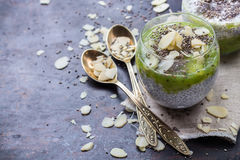 Chia seed pudding with almond milk and fresh fruit topping Royalty Free Stock Photography